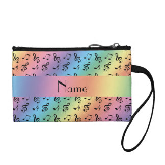 Personalized name rainbow music notes coin purse