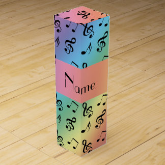 Personalized name rainbow music notes wine gift box