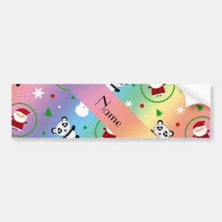 Personalized name rainbow panda santas christmas bumper stickers