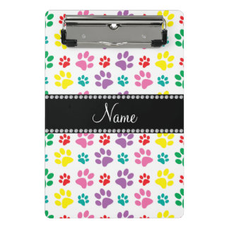 Personalized name rainbow paws mini clipboard