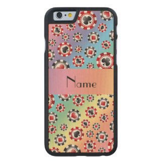 Personalized name rainbow poker chips carved® maple iPhone 6 case