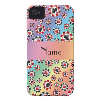 Personalized name rainbow poker chips iPhone 4 Case-Mate case