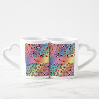 Personalized name rainbow poker chips lovers mugs