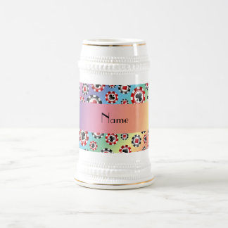 Personalized name rainbow poker chips coffee mug