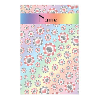 Personalized name rainbow poker chips personalized stationery