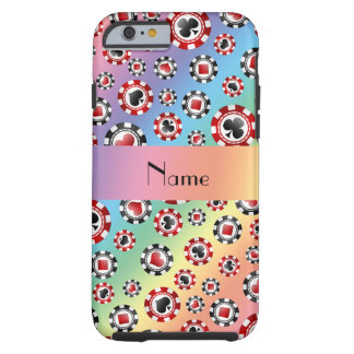 Personalized name rainbow poker chips tough iPhone 6 case