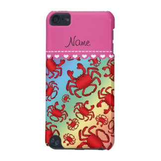Personalized name rainbow red crab pattern iPod touch (5th generation) cover