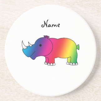 Personalized name rainbow rhino coaster