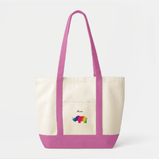 Personalized name rainbow rhino tote bag