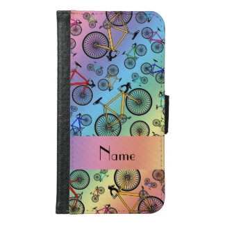 Personalized name rainbow road bikes samsung galaxy s6 wallet case