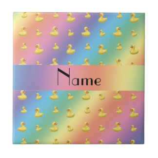 Personalized name rainbow rubber duck pattern small square tile