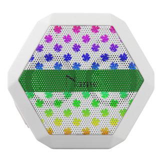 Personalized name Rainbow shamrocks pattern White Boombot Rex Bluetooth Speaker
