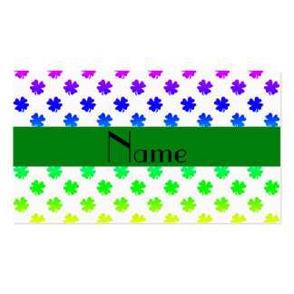 Personalized name Rainbow shamrocks pattern Business Card Template