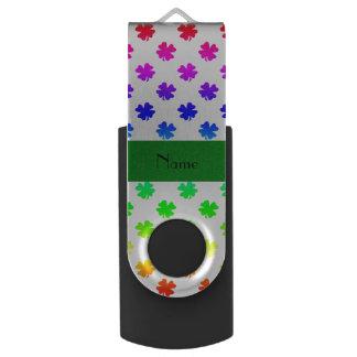 Personalized name Rainbow shamrocks pattern Swivel USB 2.0 Flash Drive