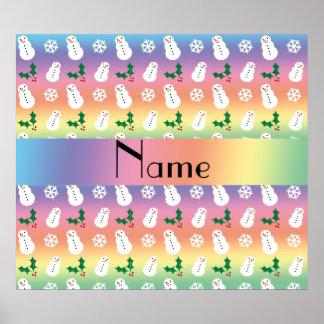 Personalized name rainbow snowman christmas print