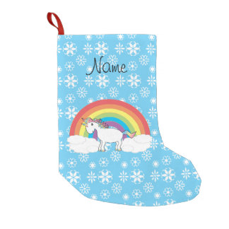 Personalized name rainbow unicorn blue snowflakes small christmas stocking