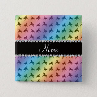 Personalized name rainbow unicorn pattern 15 cm square badge