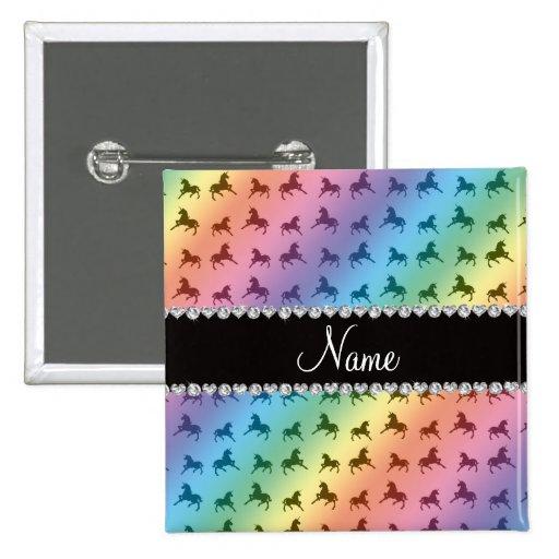 Personalized name rainbow unicorn pattern button