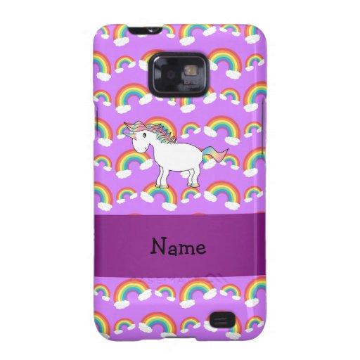 Personalized name rainbow unicorn purple rainbows galaxy s2 cases