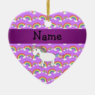 Personalized name rainbow unicorn purple rainbows christmas ornament