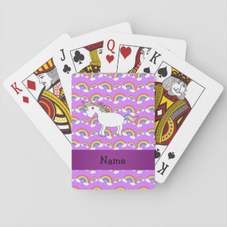 Personalized name rainbow unicorn purple rainbows playing cards