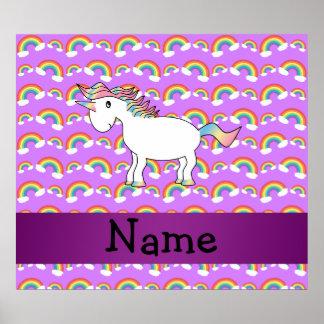 Personalized name rainbow unicorn purple rainbows posters