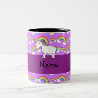 Personalized name rainbow unicorn purple rainbows Two-Tone coffee mug