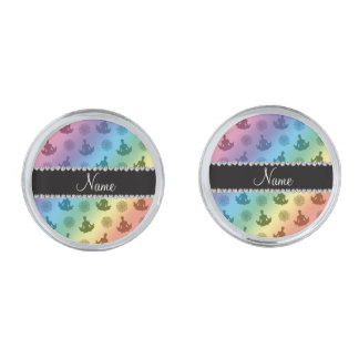 Personalized name rainbow yoga pattern silver finish cuff links