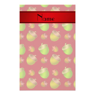 Personalized name red acorns stationery