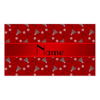 Personalized name red badminton pattern business card template