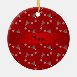 Personalized name red badminton pattern round ceramic decoration