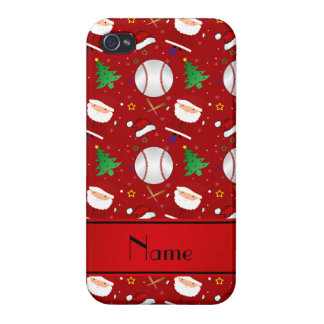 Personalized name red baseball christmas iPhone 4 cover