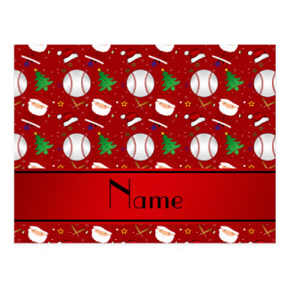 Personalized name red baseball christmas post cards