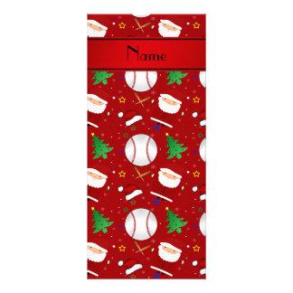 Personalized name red baseball christmas custom rack cards