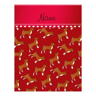 Personalized name red basenji dogs 21.5 cm x 28 cm flyer