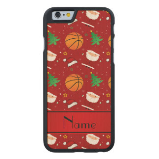 Personalized name red basketball christmas carved® maple iPhone 6 case