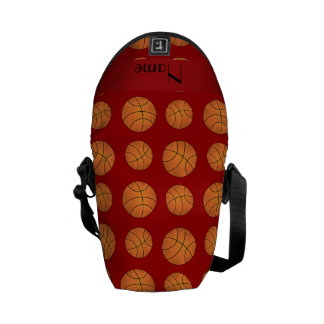 Personalized name red basketballs messenger bags