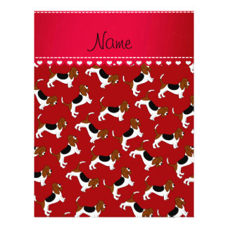 Personalized name red basset hound dogs 21.5 cm x 28 cm flyer