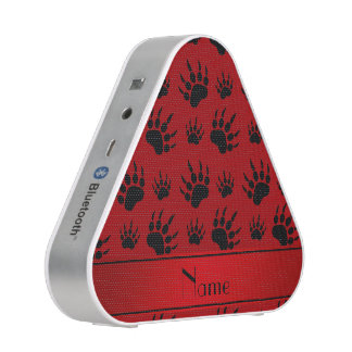 Personalized name red bear paw prints