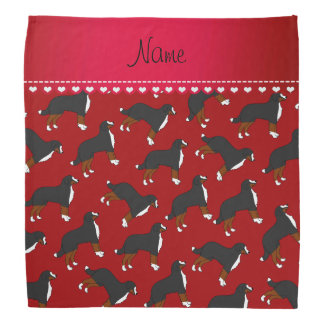 Personalized name red Bernese Mountain dogs Bandana