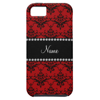 Personalized name Red black damask iPhone 5 Covers