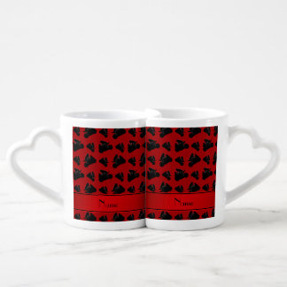 Personalized name red black motorcycle racing lovers mug