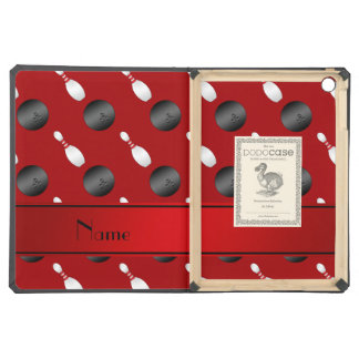 Personalized name red bowling balls pins case for iPad air