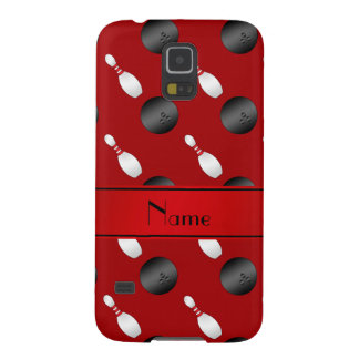 Personalized name red bowling balls pins cases for galaxy s5