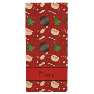 Personalized name red bowling christmas pattern wood USB 2.0 flash drive