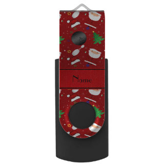 Personalized name red bowling christmas pattern swivel USB 2.0 flash drive