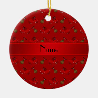 Personalized name red boxing pattern christmas ornament