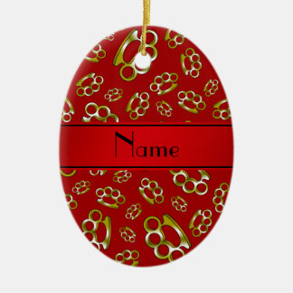 Personalized name red brass knuckles christmas ornament