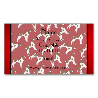 Personalized name red brittany spaniel dogs magnetic business cards