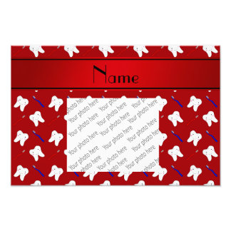 Personalized name red brushes and tooth pattern photo